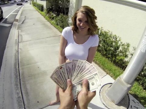 Busty Blonde Gets Opportunity To Get Extra Money For Quick Time From Stranger