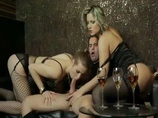 While Wife Waiting Him On Dinner Dirty Guy Enjoying Anal With Two Strippers In the Night Club
