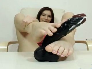 Cuddly brunette Kattie Gold handsome feet and legs