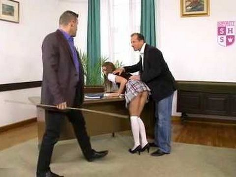 Naughty Schoolgirl Gets Proper Punishment From Step Father And School Principal