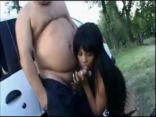 Ebony Street Hooker With A Fat Guy
