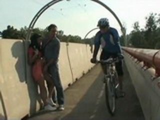 Horny Boy Groped And Fucked Whore On The Bridge While People Are Passing By