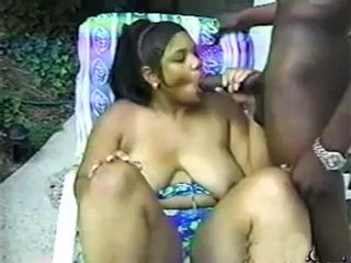 Chunky Ebony With Saggy Boobs Fuck Black Stud By The Pool