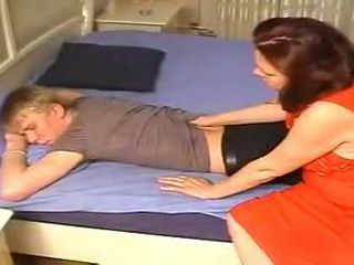 Russian Mature Gave Sleeping Boy Pleasant Awakening