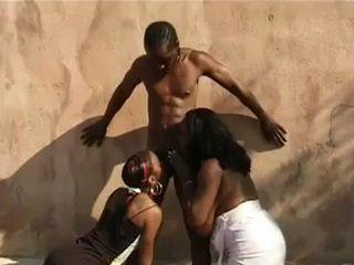 Two Ebony Skanks With A Dark Dick
