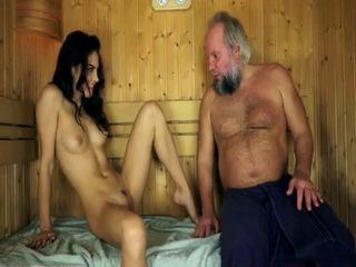 Hot Brunette Made Old Mountain Man To Worth Every Penny He Gave For This Sauna