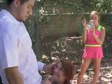 Cutie BFFs pounding with tennis coach