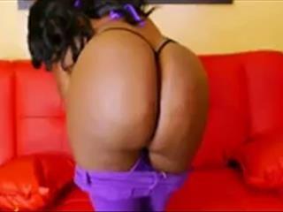 Thick Ebony Bubble Butt In Purple Pants
