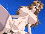 Bigboobs anime licking and riding bigcock in the top of the roof