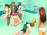 Pervert anime guy groupfucking in the bathroom