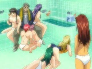 Pervert anime guy groupfucking in the bathroom