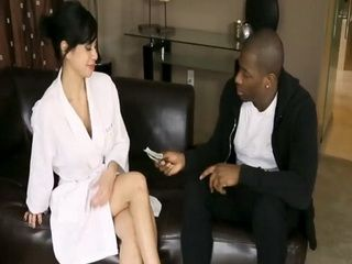 Big Pile Of Cash made Big Titted Masseur Does her Best to Please Black Client