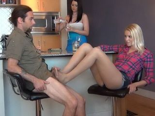 Naughty Blonde Daughter Doing A Footjob To Moms New Boyfriend In Front Of Nose Literally