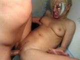 Blonde getting fucked in backroom and a facial