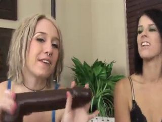 These lesbians love getting each other off with the biggest and hardest dildos