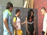 Ebony Cheerleader Jessica Dawn Swooped By Horny Guys