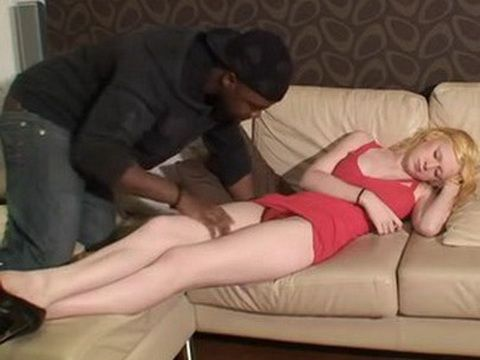 Wasted Drunk Sleeping Blonde Gets Fucked By Black Guy While Passed Out
