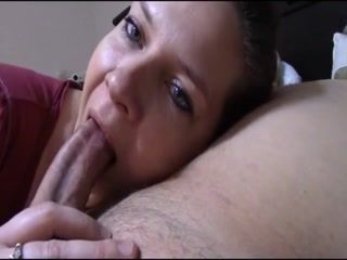 Hot girl takes her time while sucking a big fat cock