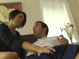Huge tits cougar has fun with her big dick stepson