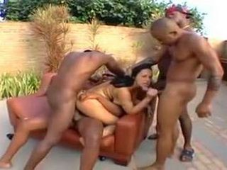 Brunette In Fishnets Gangbanged By Group Of Black Bulls