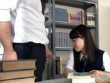 While Japanese Schoolgirl Reading Book In The Library Professor Offered Help For Study But He Could Not Refrain His Cock