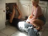 Horny Mature Lady Corners Young Plumber In The Kitchen