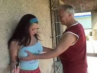 Cheerful Young Girl With Big Breasts Was Fucked By Old Local Pervert
