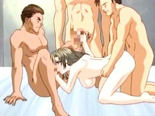 Busty Hentai Foursome Fucked And Cummed