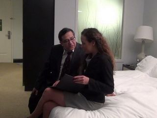 Pervert Fat Boss Calls His New Asistent On A Metting In Hotel Room