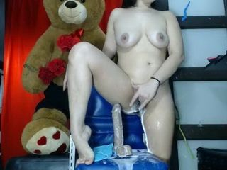 Spraying Dildo Covered This Cyber Slut Pussy And Face