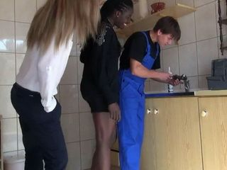 Horny Ebony Girl And Her Friend Disturb Plumber While He Doing His Job