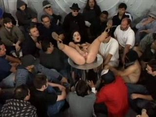 Cock Starving Brunette Eats Ton Of Sperm In Gang Bang Action