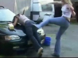 Catfight Over Cock At a Carwash