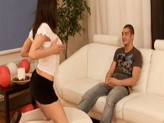Sneaky Brunette Began To Perform Striptease Infront Her Sister Confused Fiance