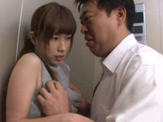 Old Fart Swooped Busty Neighbor Saki Okuda To Fuck Him In Elevator