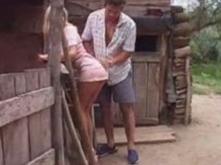 Horny Neighbor Seduces Pretty Lonelly Houswife Blonde Behind Barn