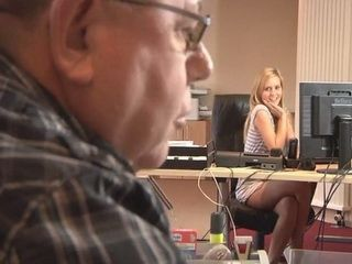 Seductive Blonde Secretary Knows Exactly How To Get Raise From Her Fat Ugly Boss
