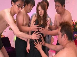 Beautiful Asian Harakiri Couldnt Defend Her Self From Horny Colleagues From Work Uncensored