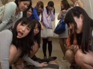 Group Of Horny Girls Strokes Out Strangers Cock