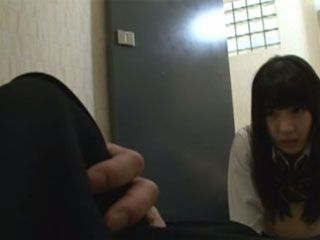Good Willing Schoolgirl Comforts Her Buddy In The Toilet In A Very Strange Way