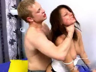 Violent Guy Put Brunette Girl On A Hard Torture