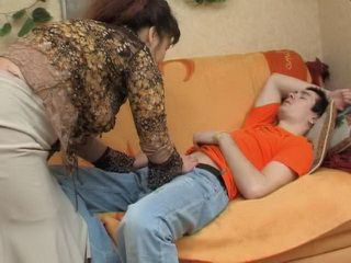 Asian Mature Woman Gives To Young Boy Relaxing Tea To Be Able To Do With Him Whatever She Wants